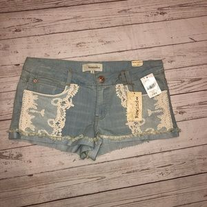 Rewind Denim shorts with lace accent size 15 NWT